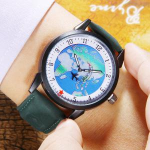 Faux Leather Strap World Map Number Watch - GREEN