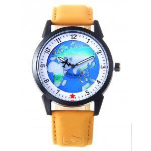 Faux Leather Strap World Map Number Watch - Yellow