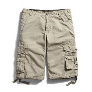 Zip Fly Pockets Straight Cargo Shorts - Khaki - 32