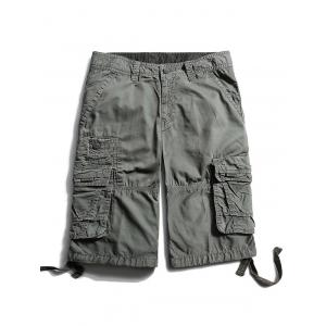 Flap Pockets Zip Fly Cargo Pants - Gray - 32