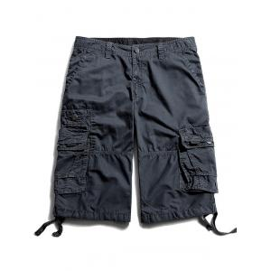 Flap Pockets Zip Fly Cargo Pants - Charcoal Gray - 32