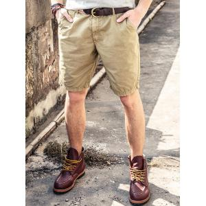 Zip Fly Pocket Chino Shorts - Khaki - 38