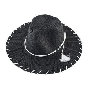 Beach Straw Fedora Hat with Tassel
