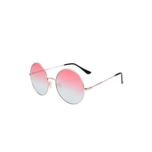 Round Metal Frame Ombre Sunglasses and Box