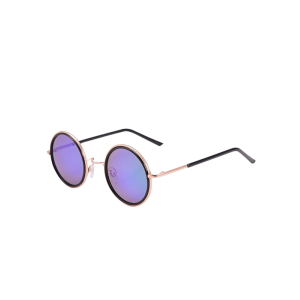 Mirrored Round Metal Frame Sunglasses with Box - Purple