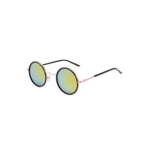 Mirrored Round Metal Frame Sunglasses with Box