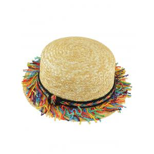 Braid Rainbow Tassel Beach Straw Hat - KHAKI