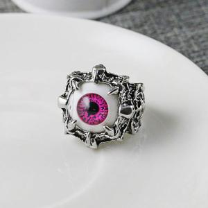 Stainless Steel Devil Eye Shaped Ring - Red - 8