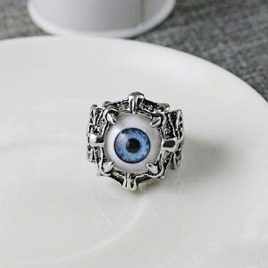 Stainless Steel Devil Eye Shaped Ring - Blue - 9