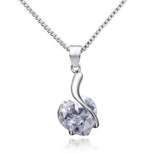 Artificial Diamond Heart Design Pendant Necklace
