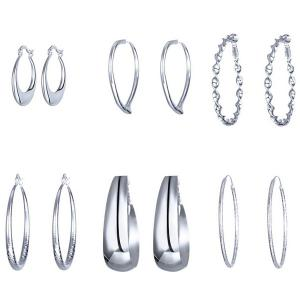 Different Shape 6 Pairs Hoop Earrings Set - Silver
