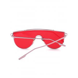 Shield Sunglasses with Metallic Long Crossbar - RED