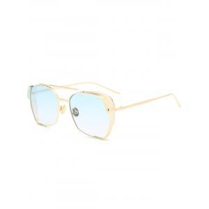 Double Metal Crossbar Geometrical Frame Sunglasses - Light Blue