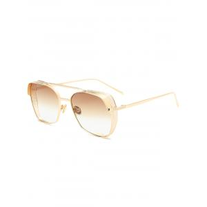 Double Metal Crossbar Geometrical Frame Sunglasses