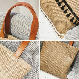 Tassels Straw Woven Shoulder Bag - KHAKI