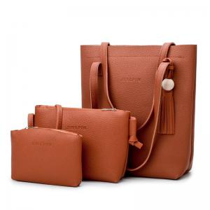 Tassel 3 Pieces Handbag Set - Brown