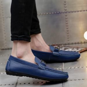 Faux Leather Matel Embellishment Casual Shoes - Blue - 40