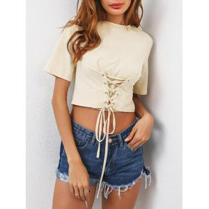 Lace Up Short Sleeve Crop T-Shirt