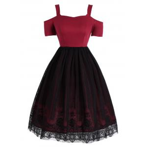 Lace Panel Vintage Fit and Flare Dress - Red - 2xl