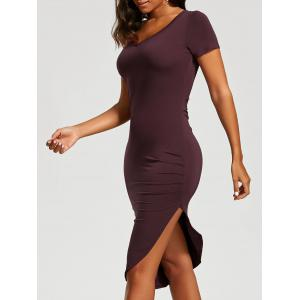 Ruched Asymmetrical Bodycon Dress - Claret - M