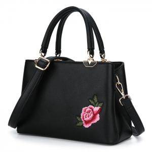 Peony Flower Embroidery Tote Bag -