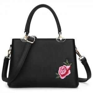 Peony Flower Embroidery Tote Bag - Black - 38