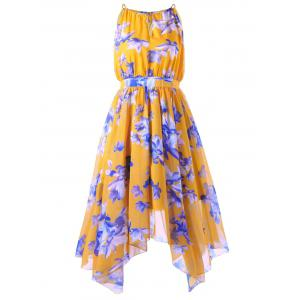 Plus Size High Waist Asymmetric Chiffon Dress