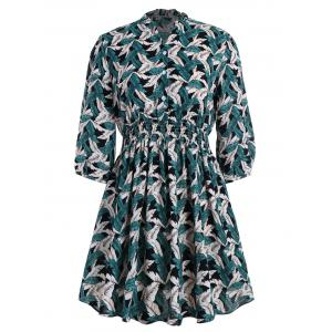 Ruffle Collar Leaf Printed Plus Size Flare Dress - Black - 5xl