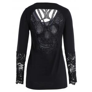 Back Skulls Lace Panel Long Sleeve Top - Black - L