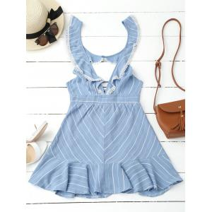Plunging Neck Striped Backless Flounce Dress - Blue - L