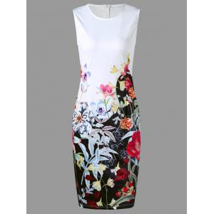 Flower Print Sleeveless Pencil Dress
