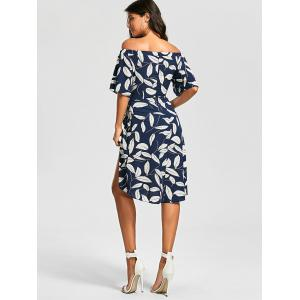 Off The Shoulder Slit Printed Dress - FLORAL S