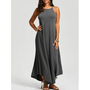 Asymmetrical Trim Maxi Dress - Deep Gray - Xl