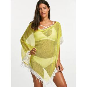 Tassel Fishnet Swing Tunic Cover Up - YELLOW ONE SIZE