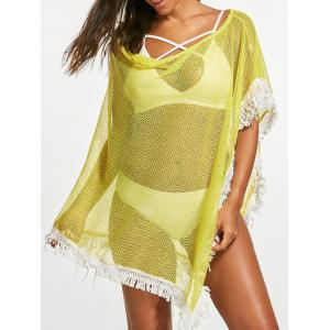 Tassel Fishnet Swing Tunic Cover Up - Yellow - One Size