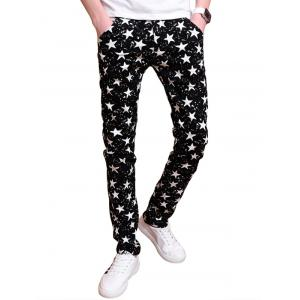 Zip Fly All Over Stars Printed Skinny Pants - Black - 34