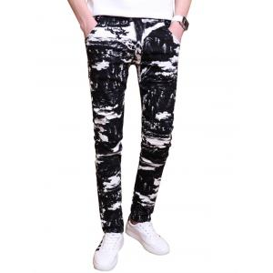 Two Tone All Over Printed Skinny Pants - Black - 34