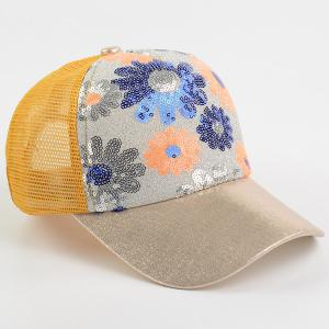Floral Pattern Sequin Mesh Splicing Baseball Hat - YELLOW
