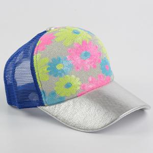 Floral Pattern Sequin Mesh Splicing Baseball Hat - BLUE