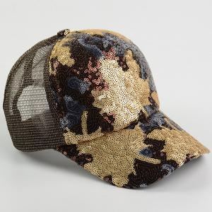 Sequin Maple Leaf Pattern Baseball Cap - BROWN