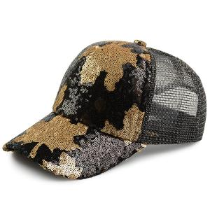Sequin Maple Leaf Pattern Baseball Cap - Black