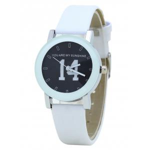 PU Leather Band Number Analog Quartz Watch