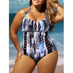 Halter Lattice Plus Size Bathing Suit - COLORMIX 4XL