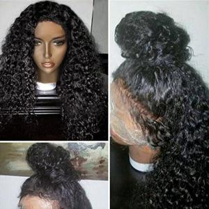 Free Part Long Shaggy Afro Curly Lace Front Human Hair Wig - Natural Black