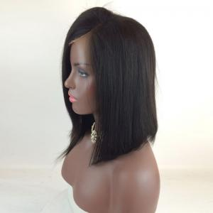 Medium Deep Side Part High Low Straight Bob Lace Front Human Hair Wig -