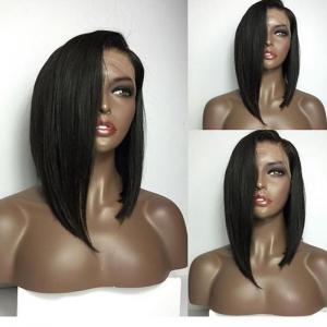 Medium Deep Side Part High Low Straight Bob Lace Front Human Hair Wig