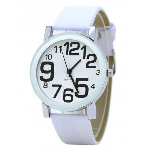 Number Faux Leather Strap Analog Watch