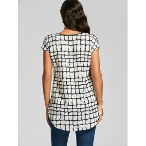 V Neck Back Plaid T-shirt - WHITE AND BLACK L
