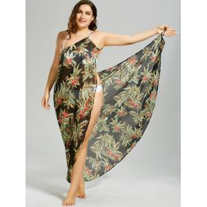 Plus Size Tropical Leaf Chiffon Cover-up Maxi Dress -