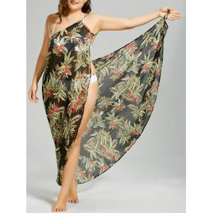 Plus Size Tropical Leaf Chiffon Cover-up Maxi Dress - Black - 3xl